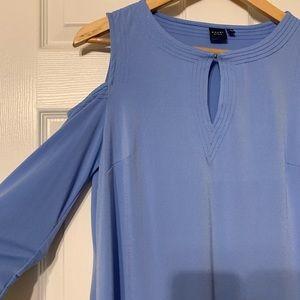 Kaari Blue Cold Shoulder Top, size medium